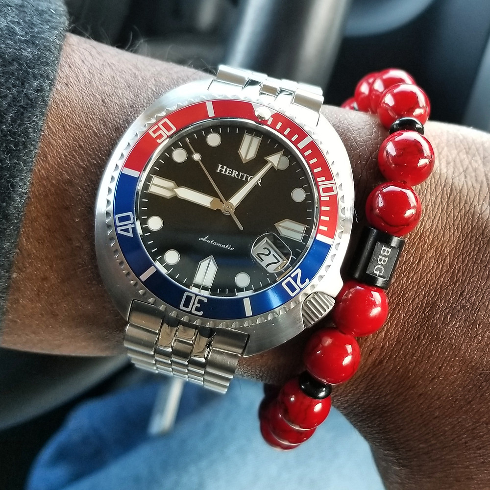 WOTD wrist-shot of the Heritor Morrison, Automatic.  Paired with a custom, beaded bracelet, designed by Beads By Gonzo.