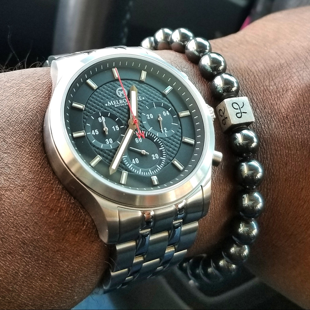 WOTD wrist-shot of the Melbourne, Hawthorne Chronograph.  Paired with a minimalist, Hematite stone beaded bracelet, designed by Aurum Brothers.