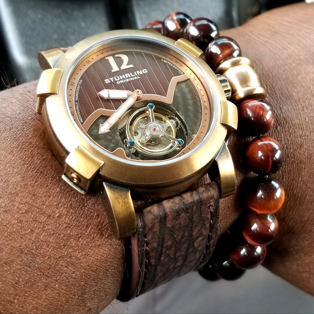 WOTD wrist-shot of the Stuhrling Original, Devilray Tourbillon, Limited Edition, matched with a genuine, Tiger's-Eye beaded bracelet.
