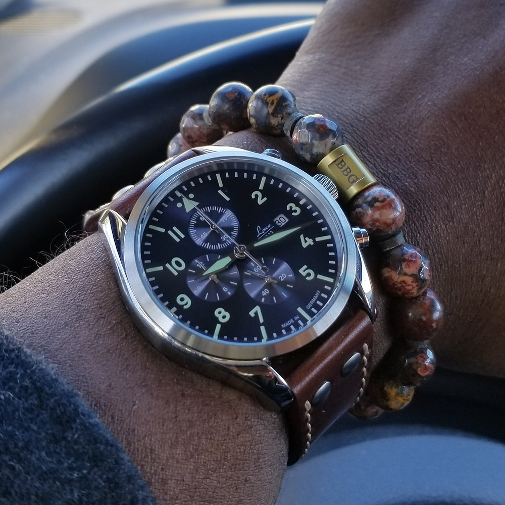 WOTD wrist-shot of the Laco, Atlantic, Pilot Chronograph, paired with a custom, beaded bracelet., designed by Beads By Gonzo