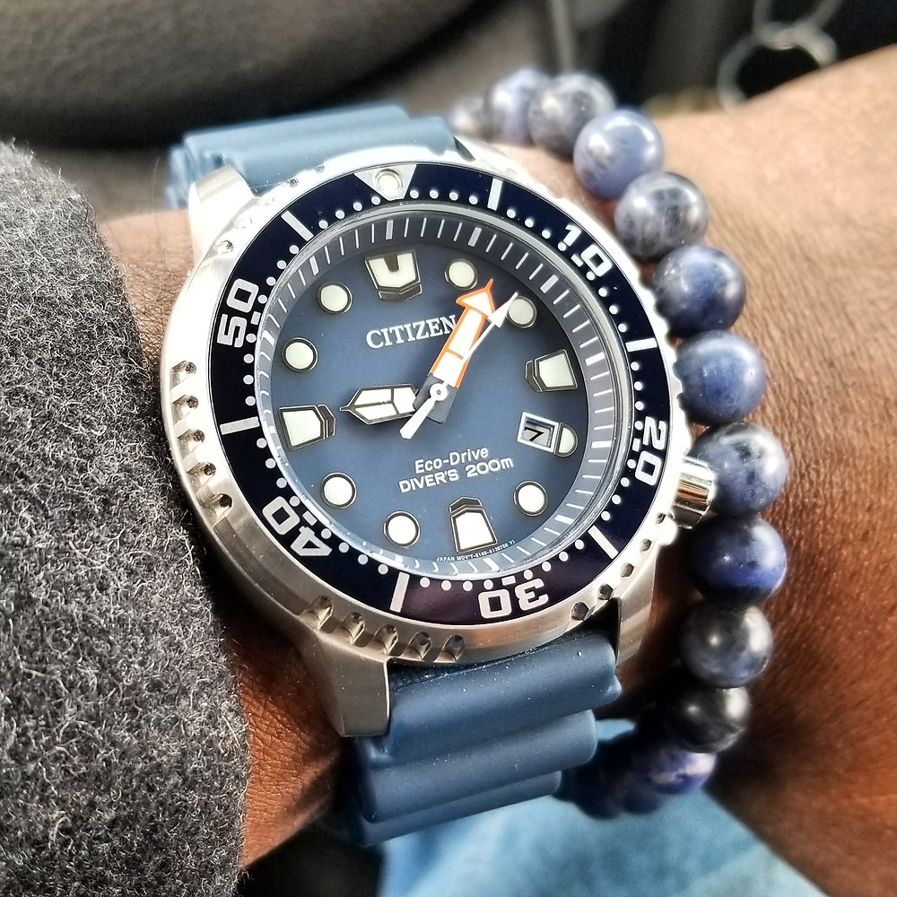 WOTD wrist-shot of the Citizen Eco-Drive, Promaster.  Paired with a minimalist, sodalite, beaded bracelet, crafted by Aurum Brothers.