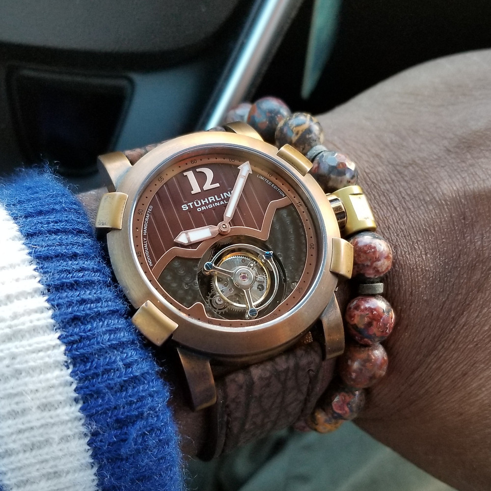 WOTD wrist-shot of the Stuhrling Original, Devilray Tourbillon, Limited Edition, paired with a custom, beaded bracelet, designed by Beads By Gonzo.