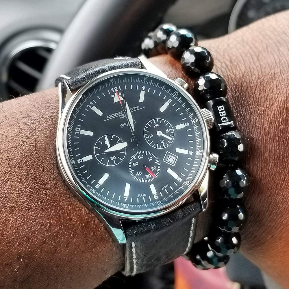 WOTD wrist-shot of the Jorg Gray, 6500 Chronograph, Presidential Commemorative Edition.  Paired with custom, beaded bracelet, designed by Beads By Gonzo.