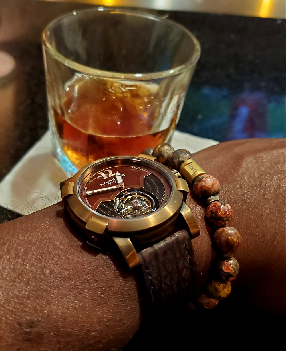 WOTD wrist-shot of the Stuhrling Original, Devilray Tourbillon.  Paired with a custom-crafted bracelet, designed by Beads By Gonzo.