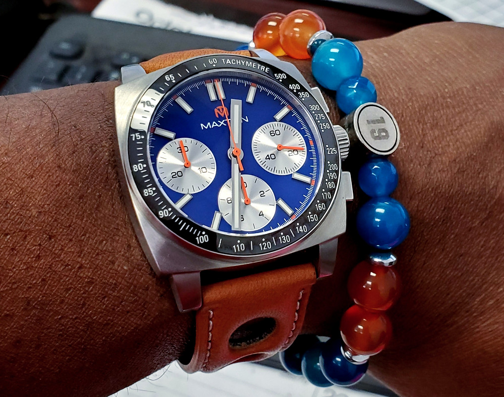 WOTD wrist-shot of the McDowell Time, Maxton Chronograph.  Paired with a custom-crafted bracelet, designed by Beads By Gonzo.