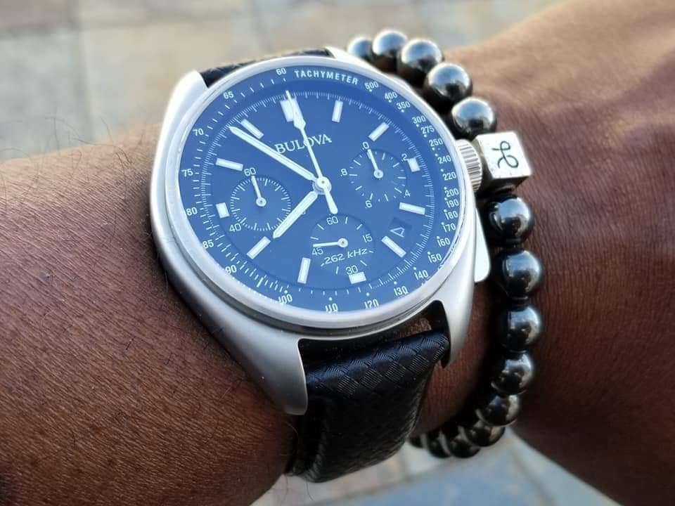WOTD wrist-shot of the Bulova, Lunar Pilot Chronograph, Special Edition.  Paired with a minimalist, Hematite Stone beaded bracelet, created by Aurum Brothers.