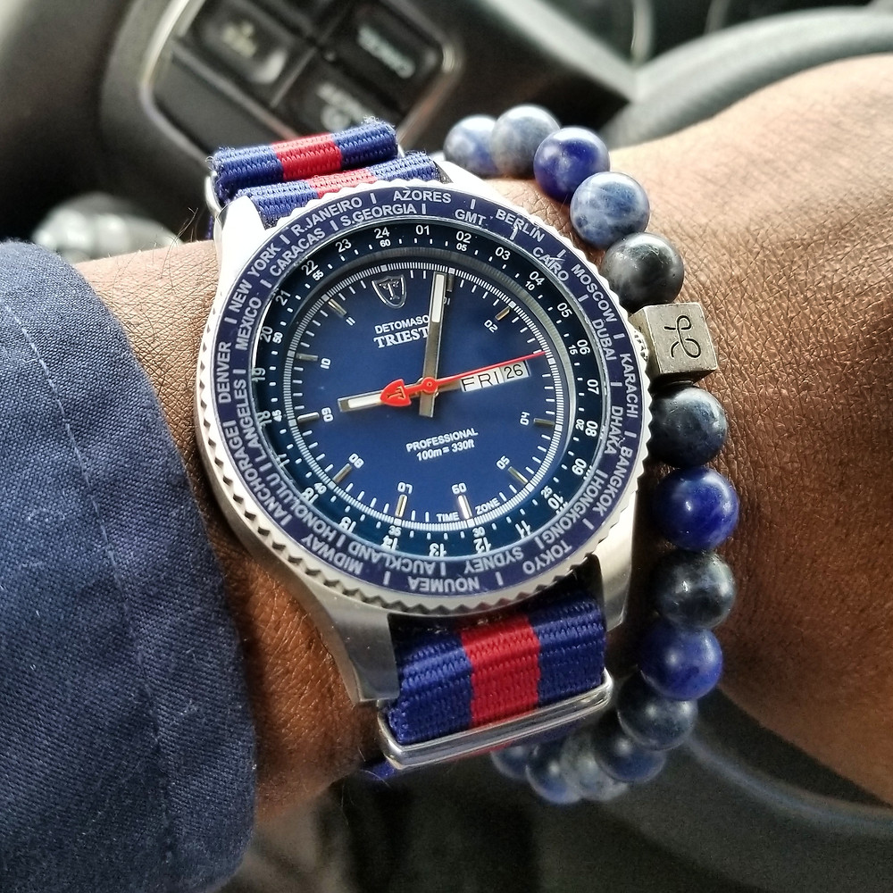 WOTD wrist-shot of the Detomaso, Trieste, Globetrotter.  Paired with a minimalist, Sodalite stone, beaded bracelet, designed by Aurum Brothers.