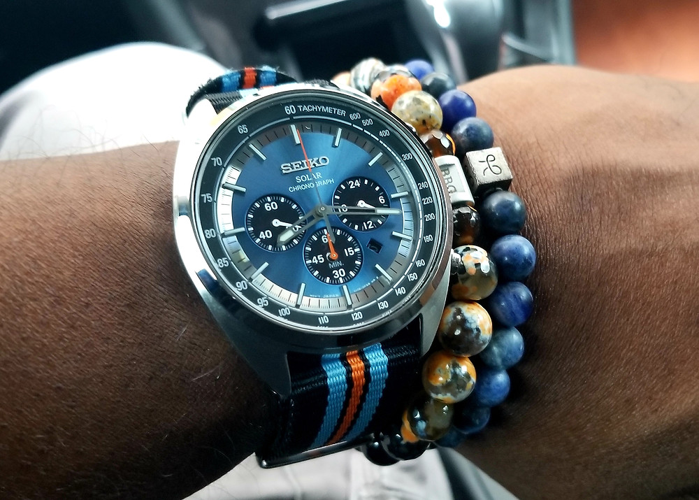 WOTD wrist-shot of the Seiko, Recraft, Solar Chronograph paired with beaded bracelets by Beads By Gonzo and Aurum Brothers.