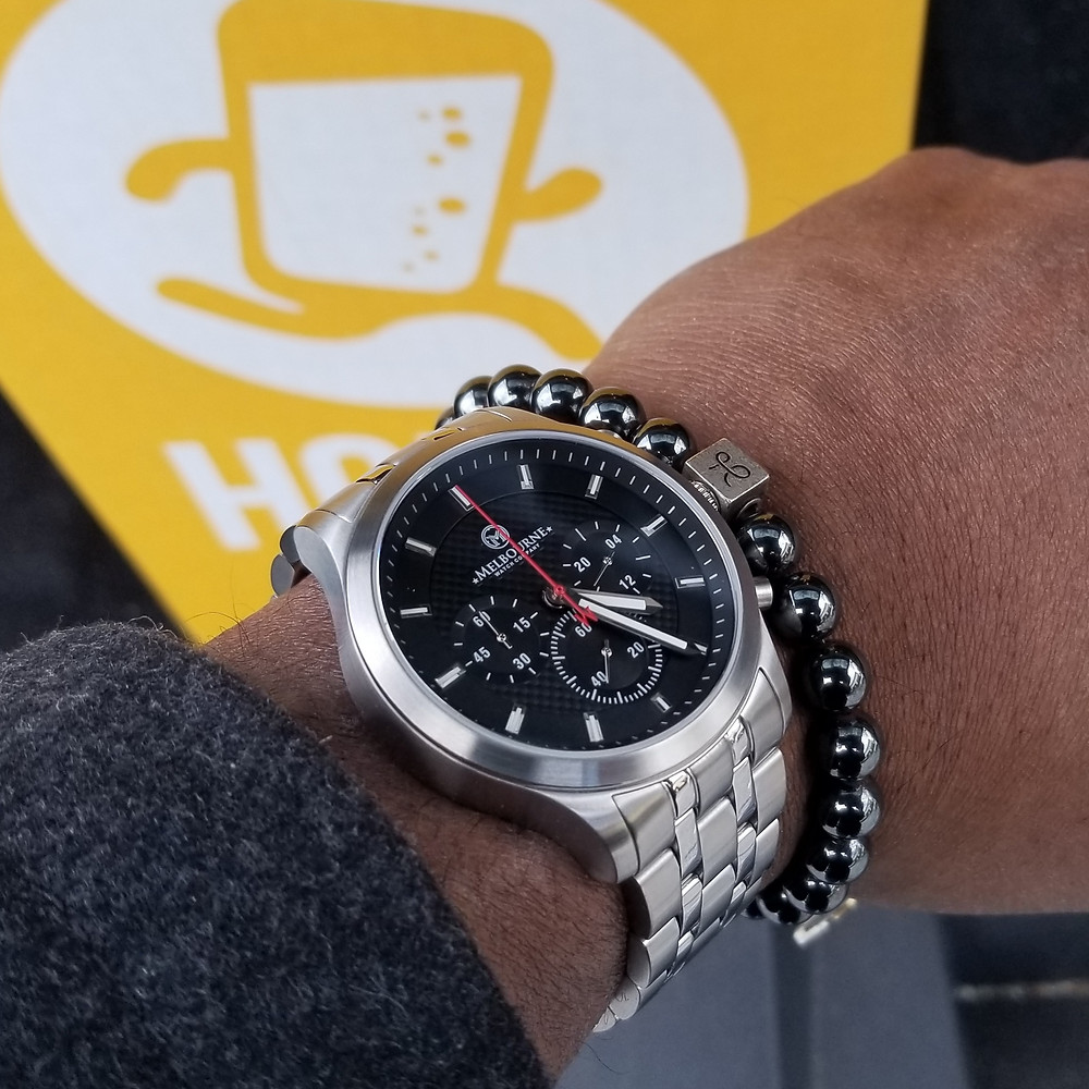 Melbourne Hawthorne Chronograph, paired with an Aurum Brothers, minimalist, hematite beaded bracelet.