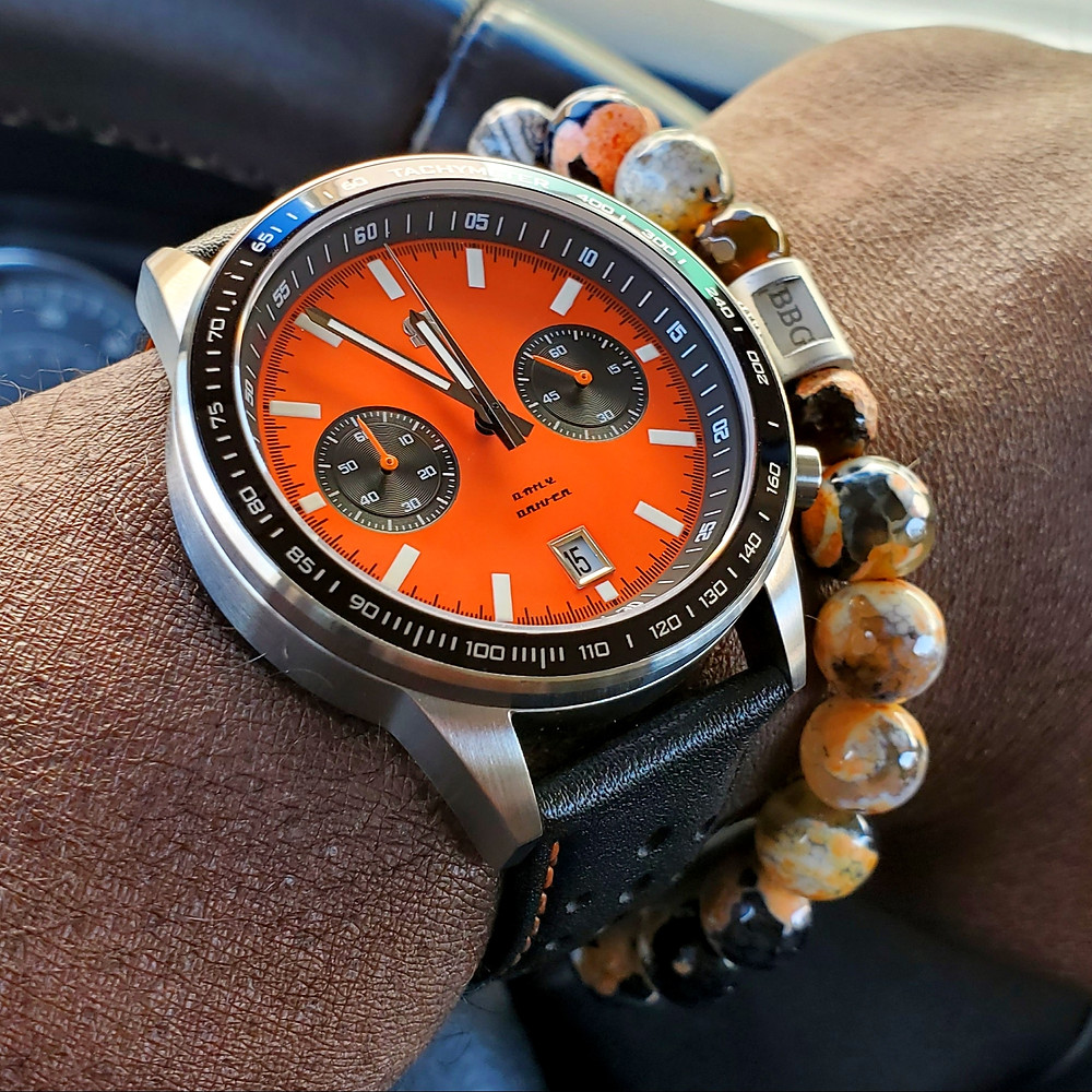WOTD wrist-shot of the Straton, Daily Driver - Orange.  Paired with a custom-crafted bracelet, created by Beads By Gonzo.