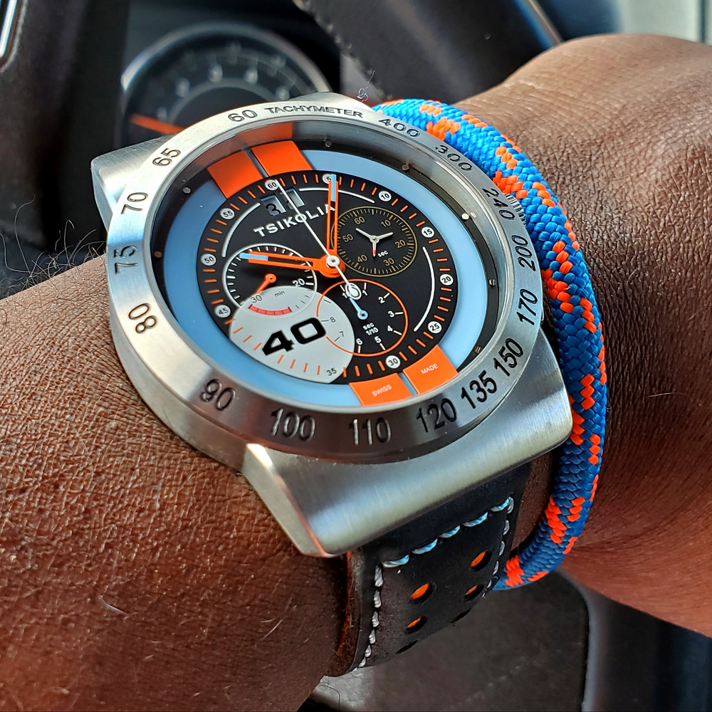 WOTD wrist-shot of the Tsikolia, GT40 Racing Chronograph.  Paired with marine-grade, rope bracelet, by Roplet UK.