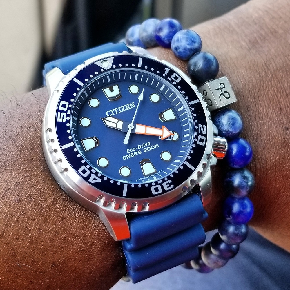 WOTD wrist-shot of the Citizen Eco-Drive, Promaster Diver.  Paired with a minimalist, Sodalite stone, beaded bracelet, designed by Aurum Brothers.