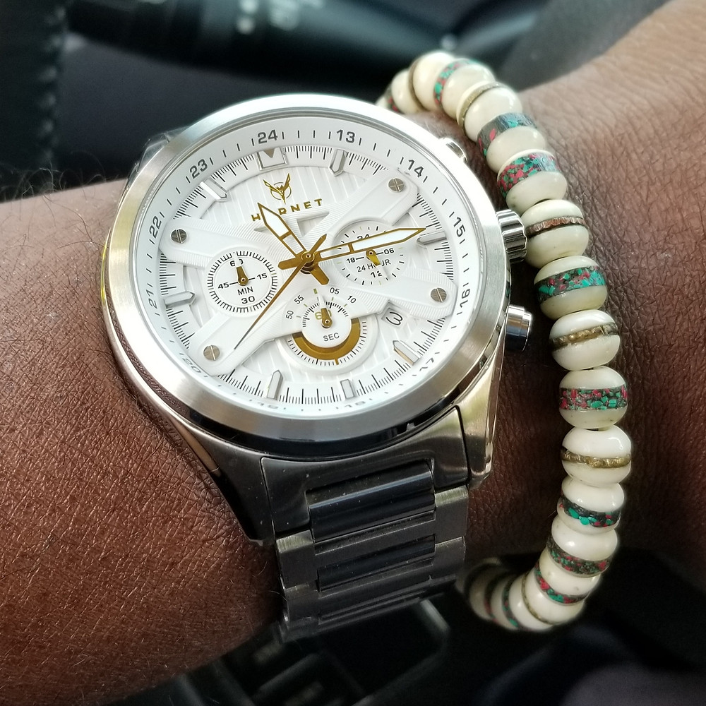 WOTD wrist-shot of the Motor-Time, Hornet Chronograph.  Paired with a Yak Bone, copper-infused, beaded bracelet.
