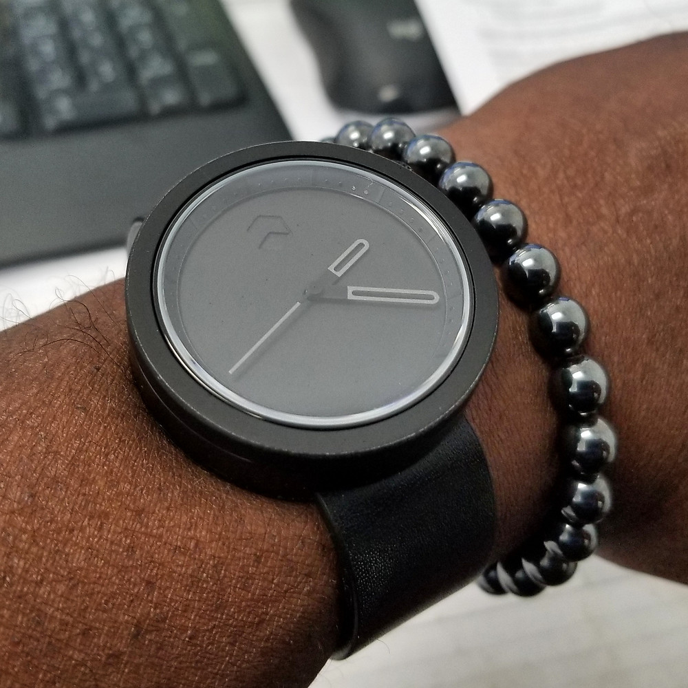 WOTD wrist-shot of the Ag-Gre-Gate Masonic, in Black.  Paired with a minimalist, Hematite stone, beaded bracelet, designed by Aurum Brothers.