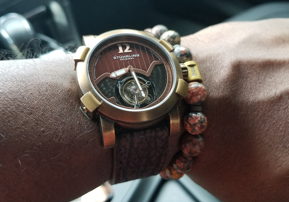 WOTD Wrist-Shot showing the Stuhrling Original, Devilray, Tourbillon, Limited Edition timepiece, accompanied by custom beaded bracelet by Beads By Gonzo.