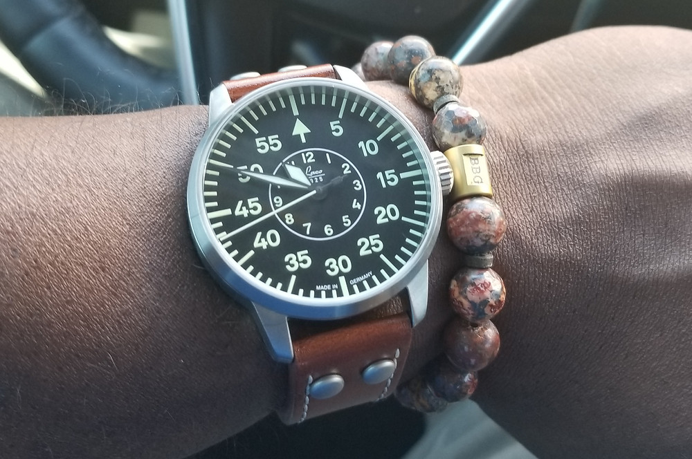 WOTD wrist shot showing the Laco, Type B, Aachen, Pilot watch, accompanied by a custom beaded bracelet  by vendor Beads by Gonzo.