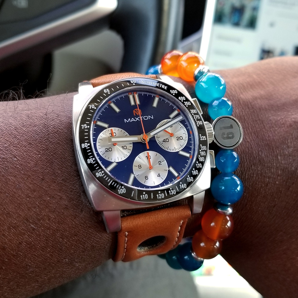 WOTD wrist-shot of the McDowell Time, Maxton, Racing Chronograph.  Paired with custom-designed bracelet, created by Beads By Gonzo.