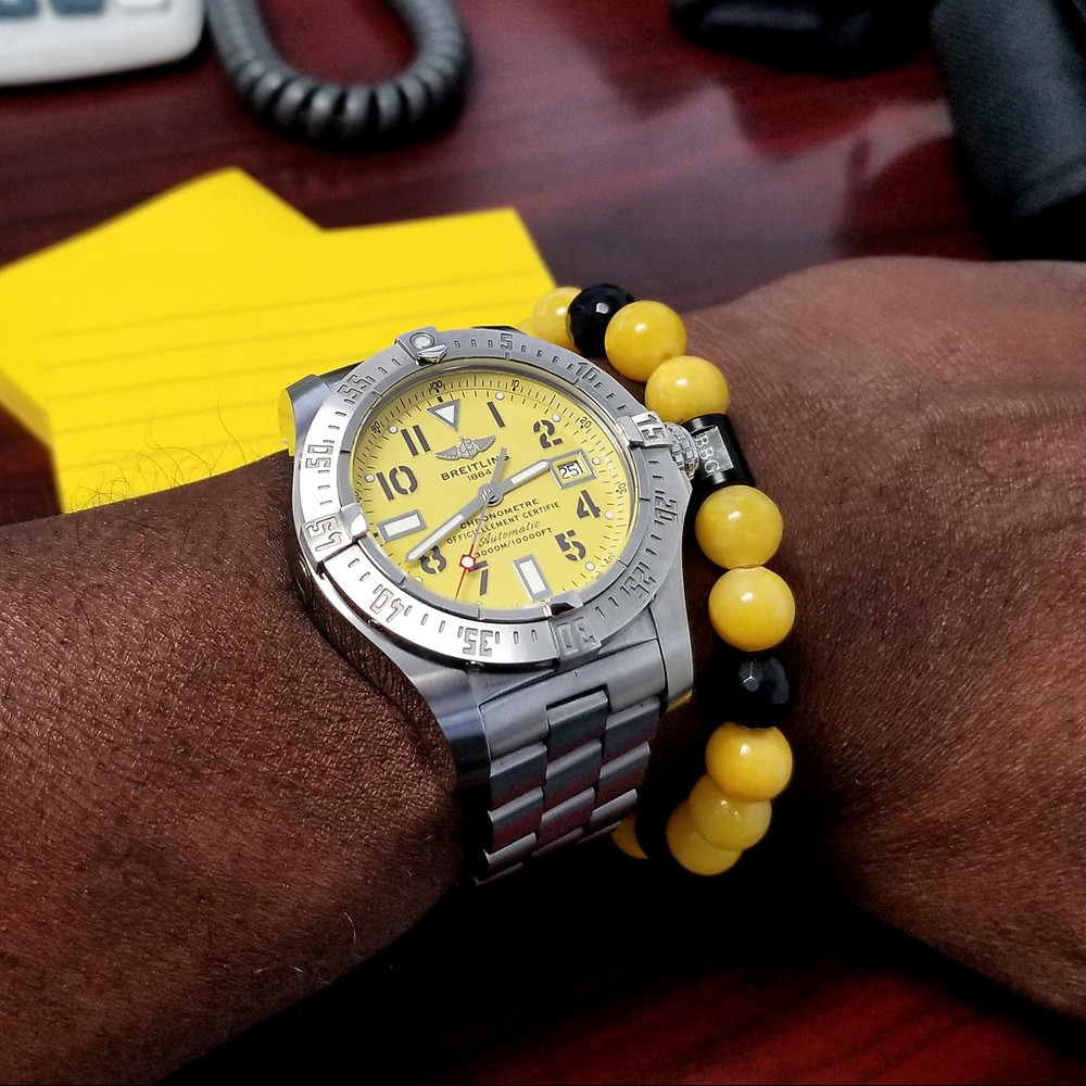 WOTD wrist-shot of Breitling, Avenger Seawolf.  Paired with a custom-crafted bracelet, designed by Beads By Gonzo.