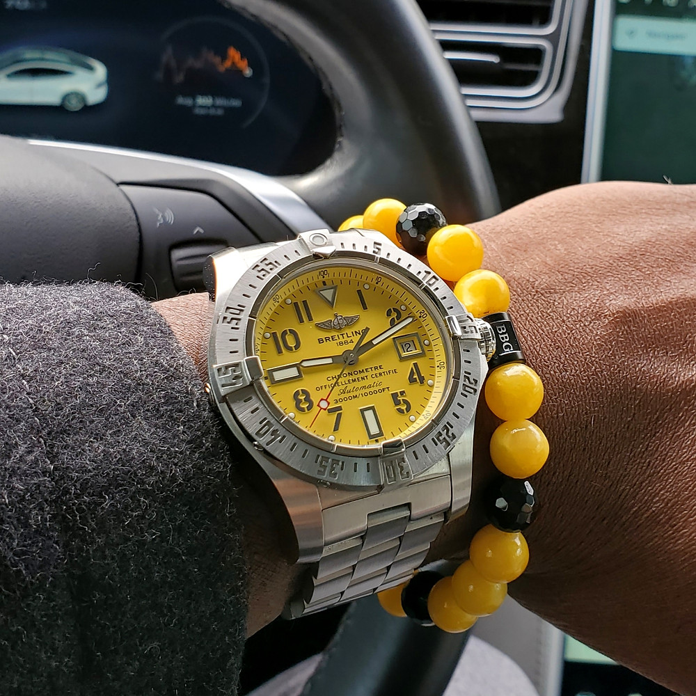 WOTD wrist-shot of the Breitling, Avenger - Seawolf.  Paired with a custom-crafted bracelet, designed by Beads By Gonzo.