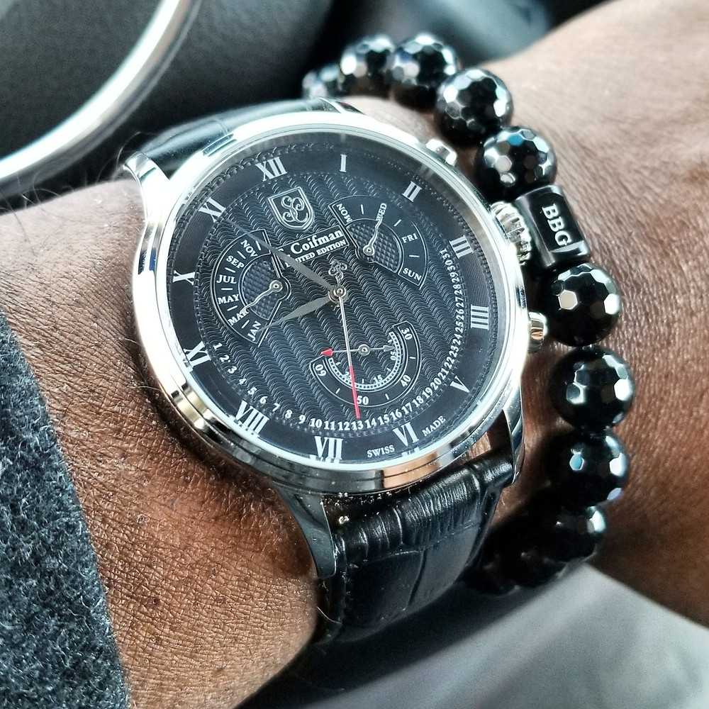 WOTD wrist-shot of the S. Coifman, Perpetual Calendar, Limited Edition.  Paired with a custom-designed, beaded bracelet, crafted by Beads By Gonzo.