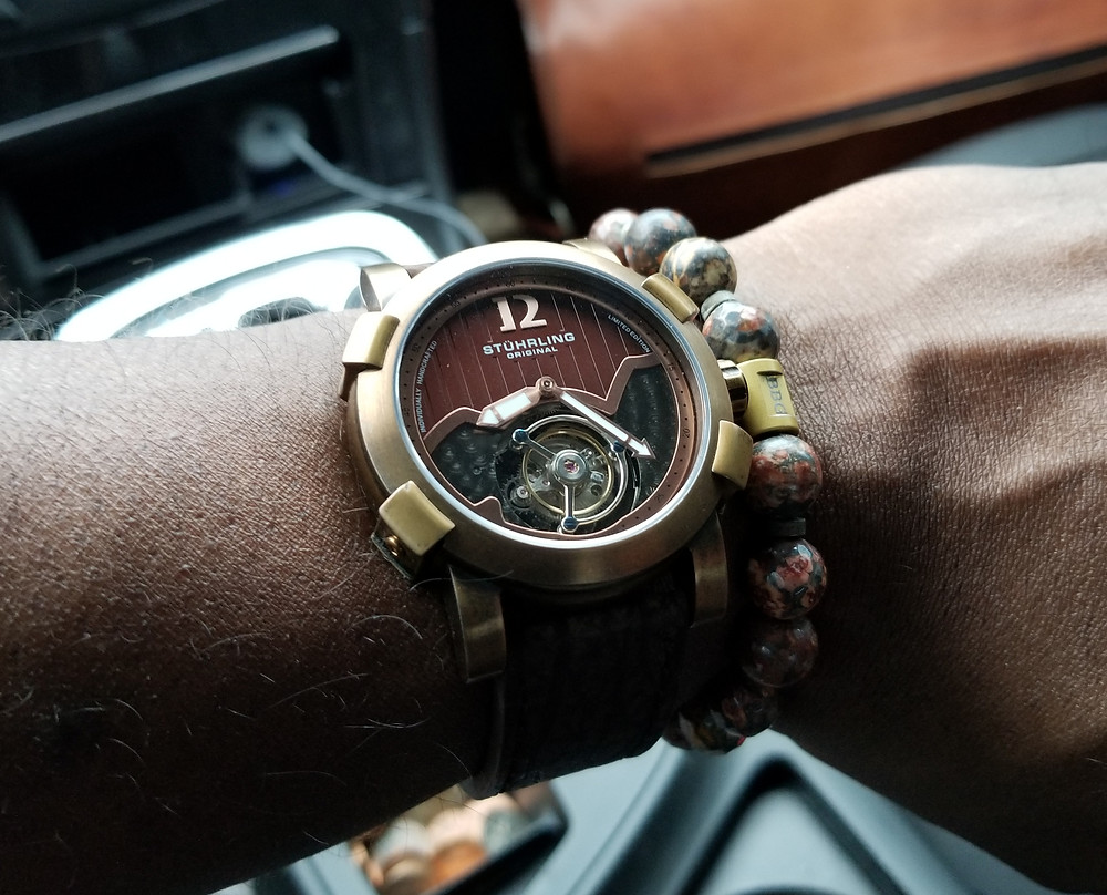 WOTD wrist shot of the Stuhrling Original, Devilray, Tourbillon paired with a custom beaded bracelet from Beads By Gonzo.