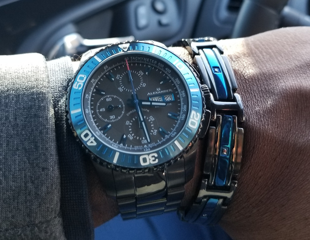 WOTD wrist shot of the Alexander Olyn, A420, Swiss Valjoux 7750, Automatic Chronograph.