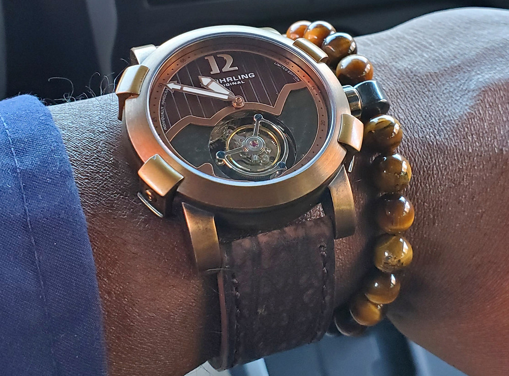 WOTD wrist-shot of the Stuhrling Original, Devilray Tourbillon - Limited Edition.  Paired with a beaded bracelet, in color SoHo, designed by Dorsal Bracelet Co.