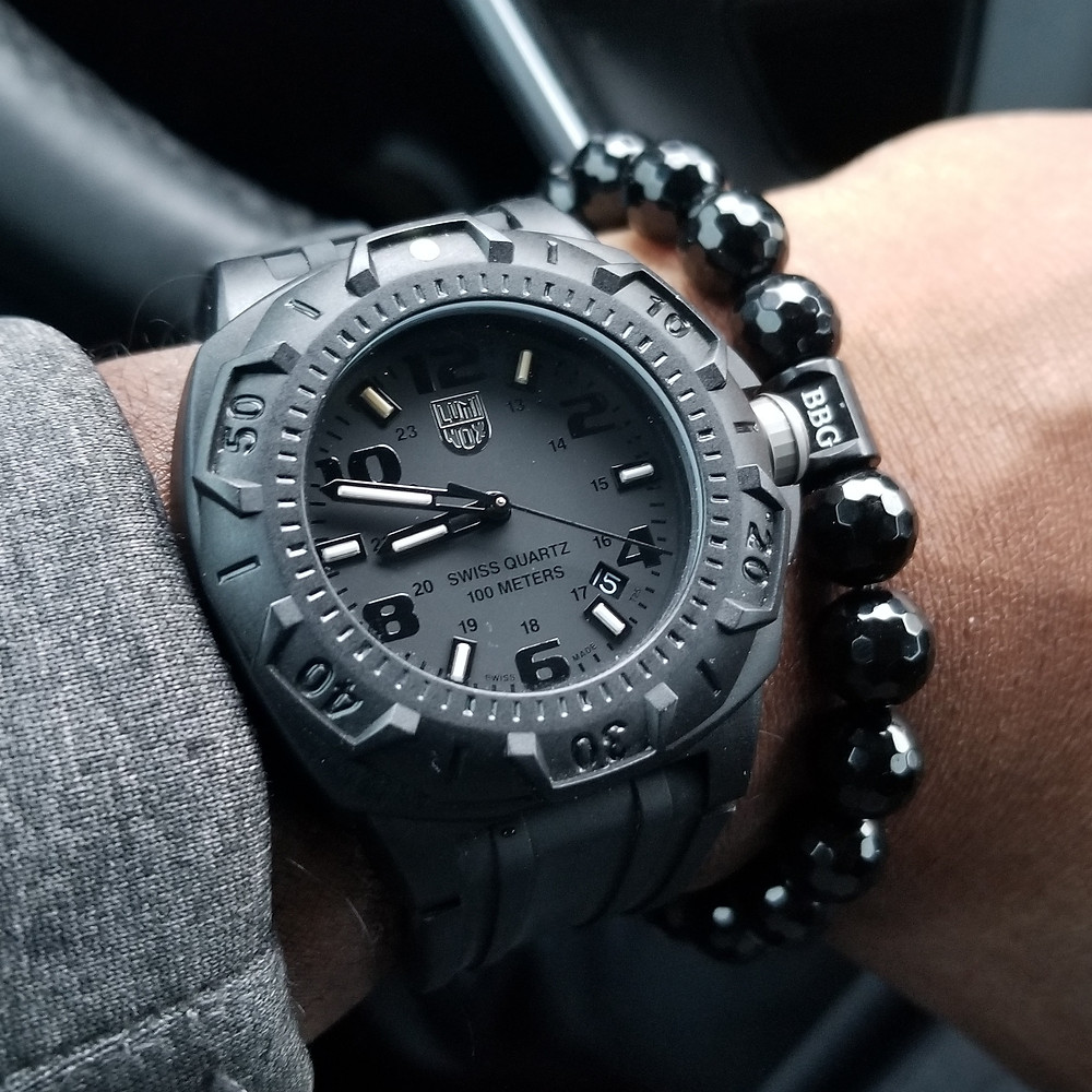 WOTD wrist-shot of the Luminox, Sentry 0200, paired with a custom, beaded bracelet, designed by Beads By Gonzo.