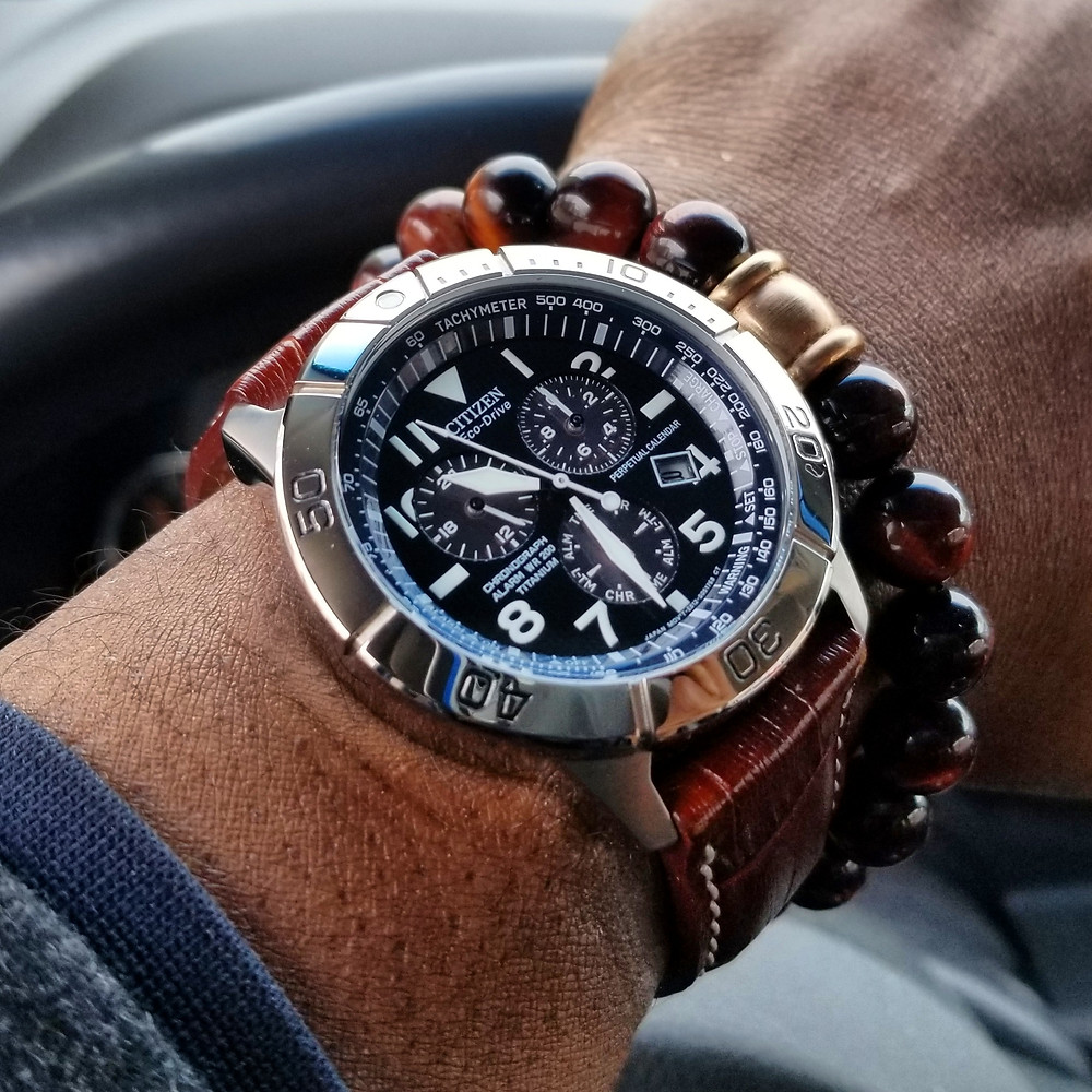 WOTD wrist-shot of the Citizen Eco-Drive, Pilot Chronograph, paired with a Tiger's-Eye beaded bracelet.