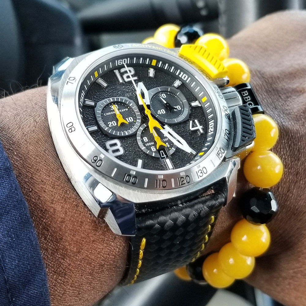 WOTD wrist-shot of the Aviator, SWIFTS Flight Team Professional Chronograph, Limited Edition.  Paired with a custom, beaded bracelet, designed by Beads By Gonzo.