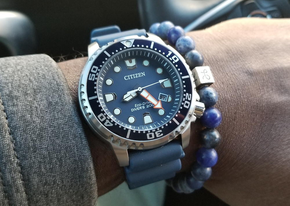 WOTD wrist-shot of the Citizen Eco-Drive Promaster, paired with an Aurum Brothers, Sodalite, beaded bracelet.