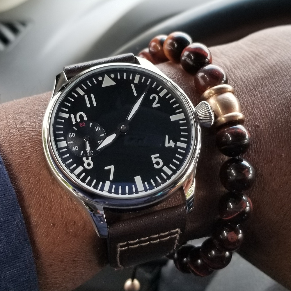 WOTD wrist-shot of the Parnis, Mechanical Big Pilot.  Paired with a Tiger's-Eye beaded bracelet.