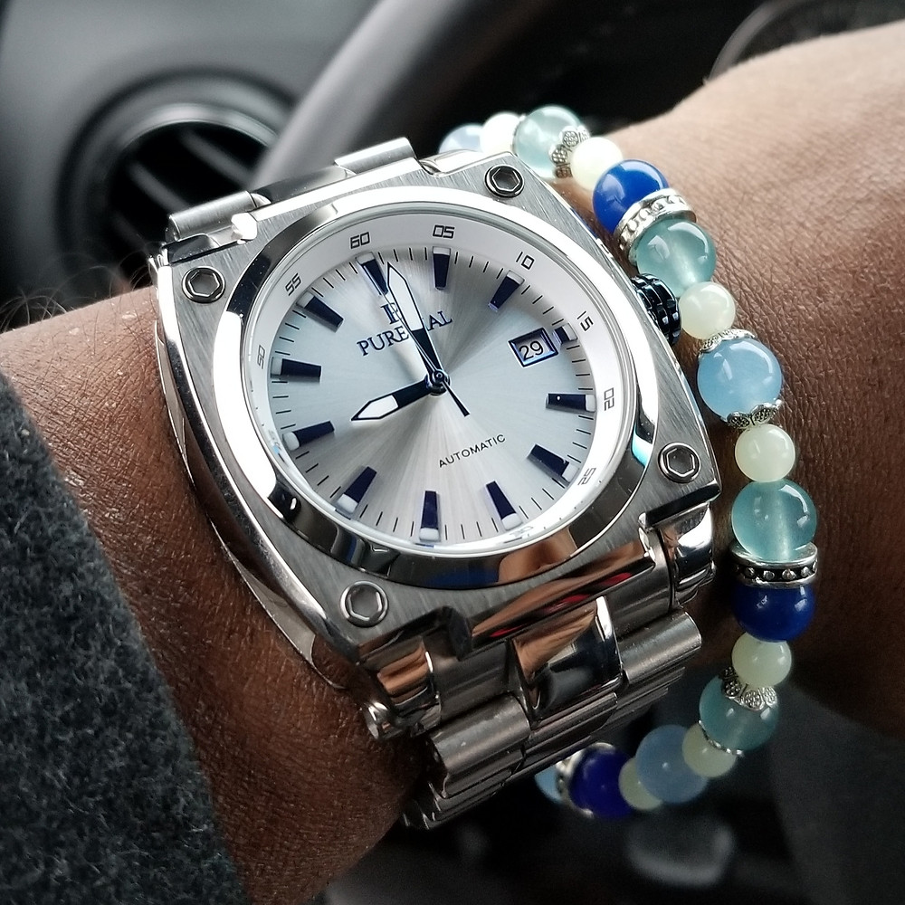 WOTD wrist-shot of the PureDial Powersphere, paired with a custom designed, color-coordinated, beaded bracelet..