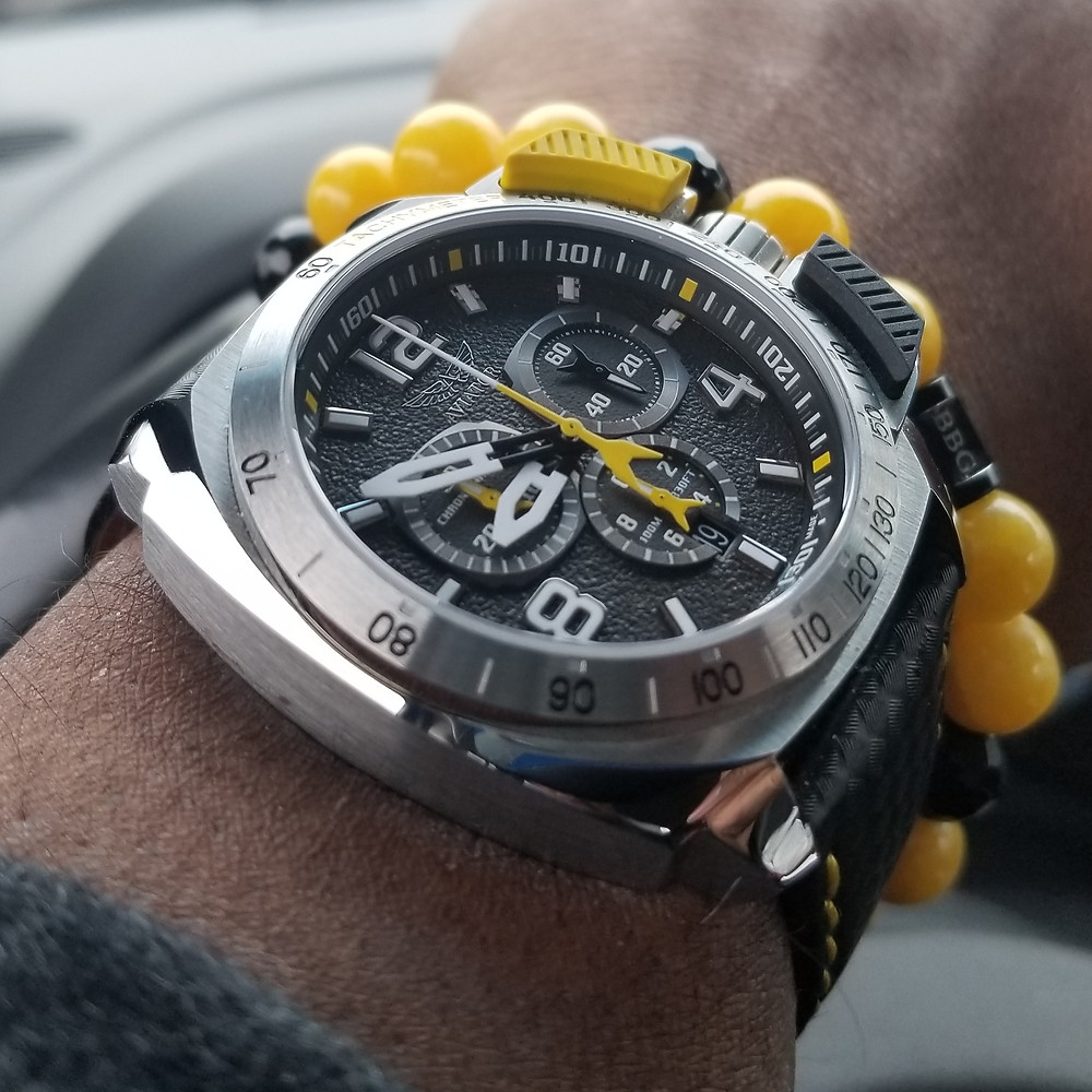 WOTD wrist-shot of the Aviator, SWIFTS Flight Team, Professional Chronograph, paired with a custom, beaded bracelet, designed by Beads By Gonzo.