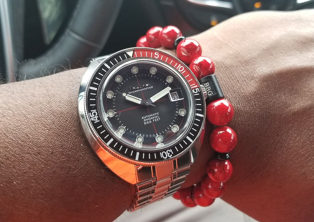 "WOTD wrist shot of the Bulova, Oceanographer, Snorkel, A/K/A ""Devil Diver"" 666, shown with custom beaded bracelet by Beads By Gonzo."
