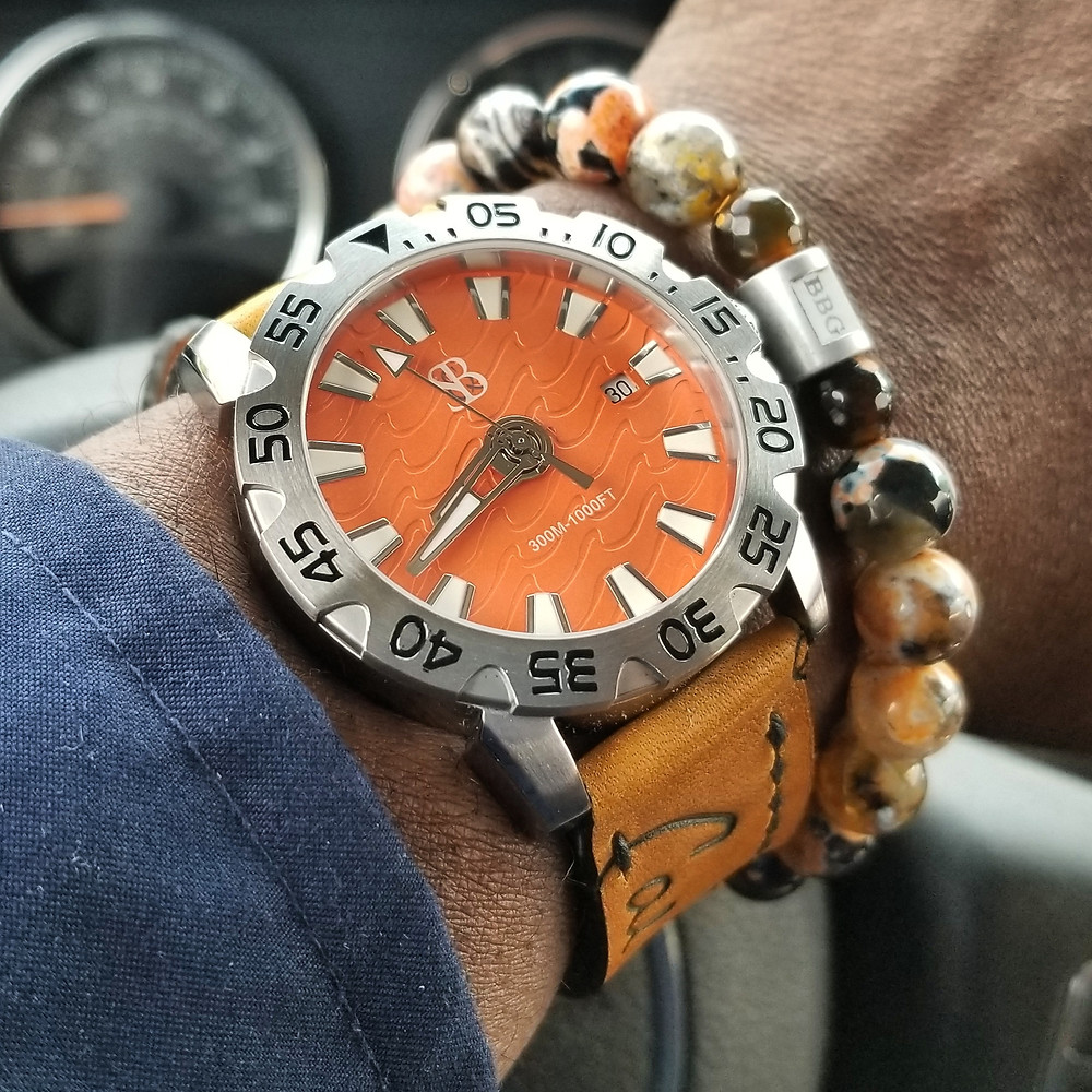 WOTD Wrist Shot of the Smith & Bradley, Wraith Diver.  Paired with custom, beaded bracelet, crafted by Beads By Gonzo.