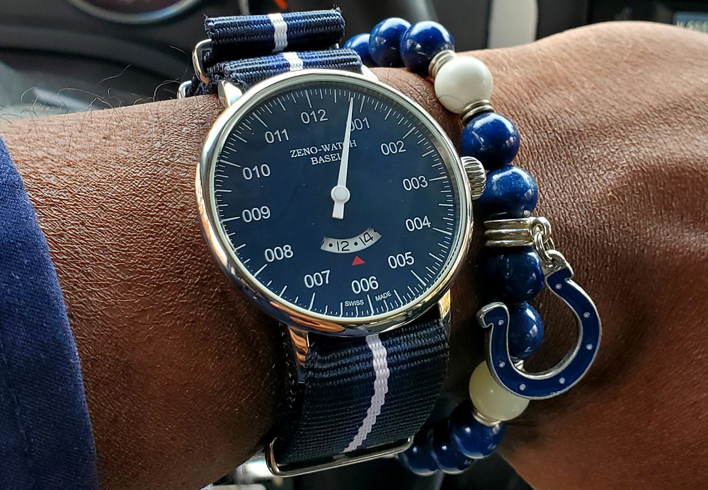 WOTD wrist-shot of the Zeno-Watch Basel, Pilot.  Accessorized with a custom bracelet, created by Beads By Gonzo.