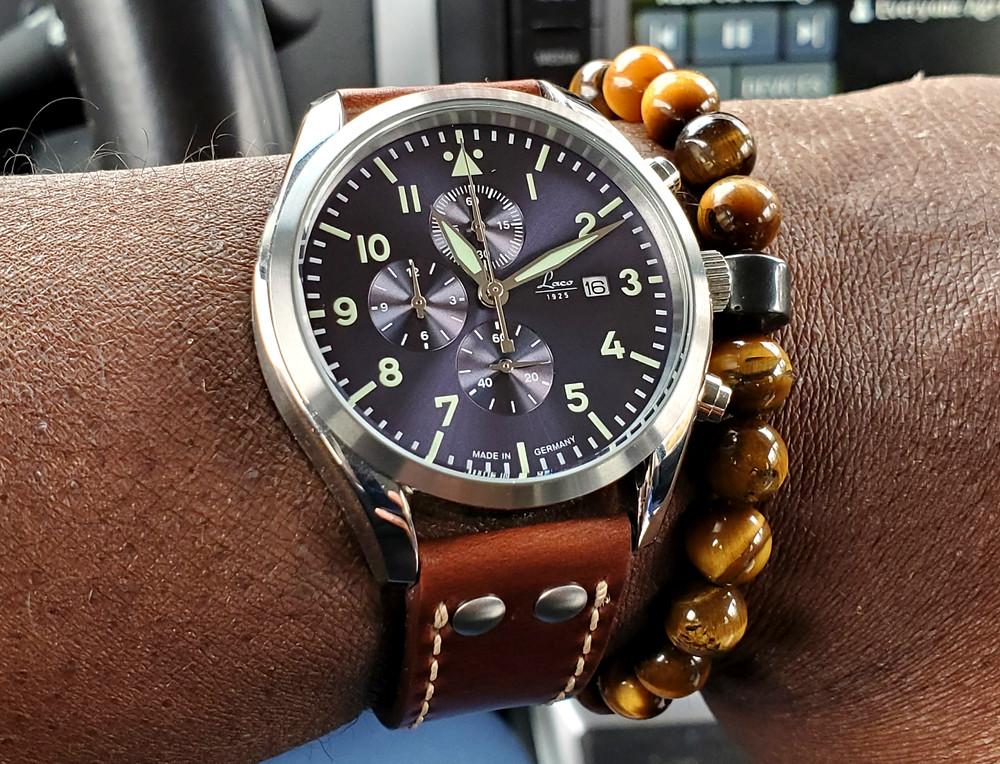 WOTD wrist-shot of the Laco, Atlantic - Chronograph.  Paired with a SoHo bracelet, designed by Dorsal Bracelet Company.