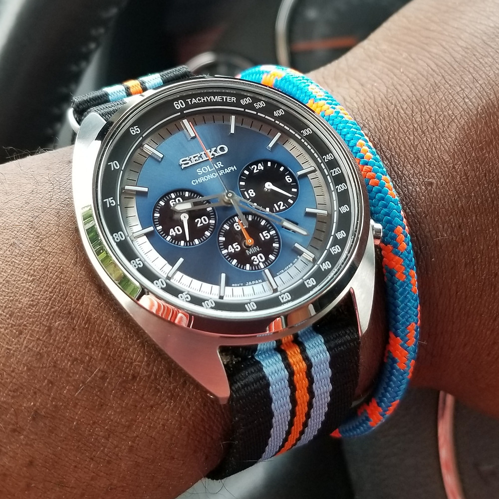 WOTD wrist-shot of the Seiko Recraft, Solar Chronograph Racer.  Coordinated with a marine-grade, rope bracelet, designed by Roplet.