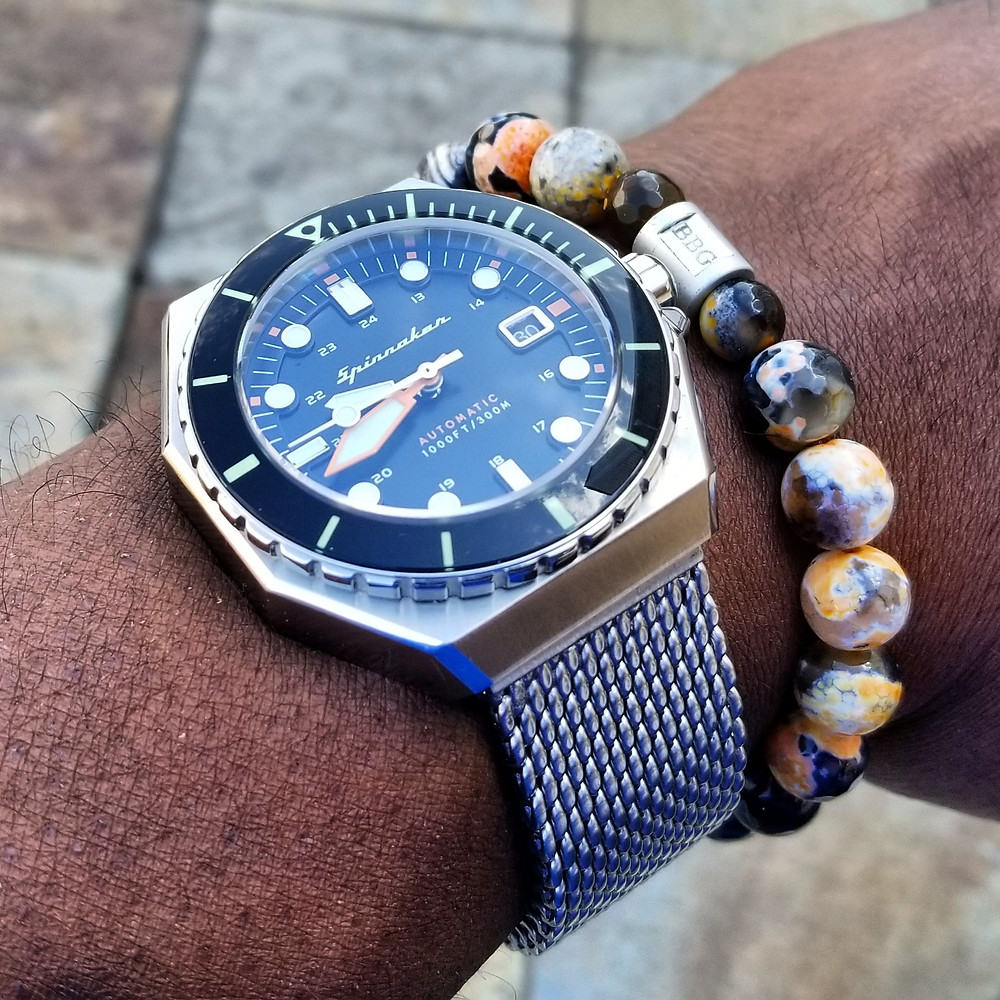 WOTD wrist-shot of the Spinnaker, Dumas Diver.  Paired with a custom-designed, beaded bracelet, crafted by Beads By Gonzo.