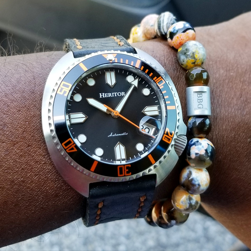 WOTD wrist-shot of the Heritor, Morrison Automatic.  Paired with a custom-crafted bracelet, designed by Beads By Gonzo.