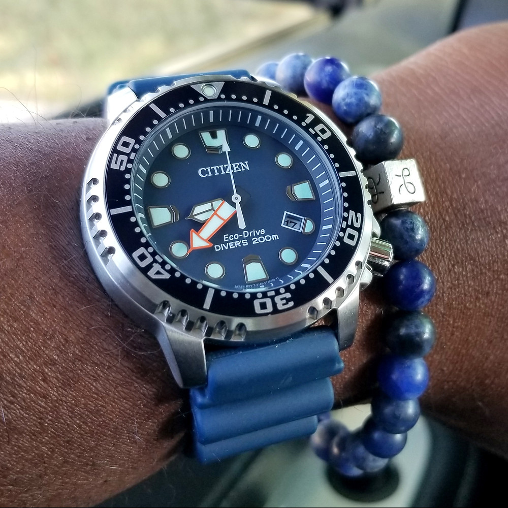 WOTD wrist-shot of the Citizen Eco-Drive, Promaster.  Paired with a Sodalite stone, beaded bracelet, designed by Aurum Brothers.