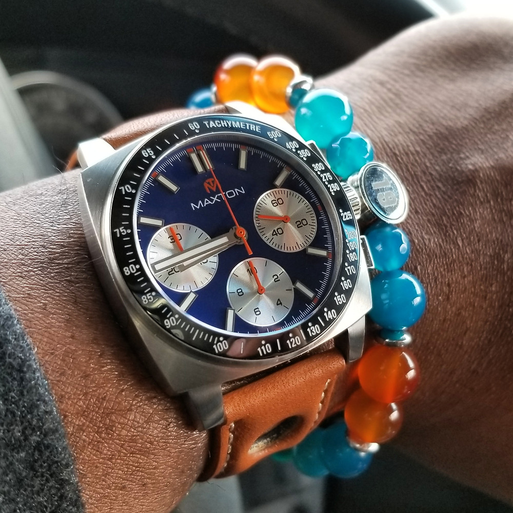 WOTD wrist-shot of the McDowell Time, Maxton Chronograph.   Paired with a custom-designed, beaded bracelet, crafted by Beads By Gonzo.