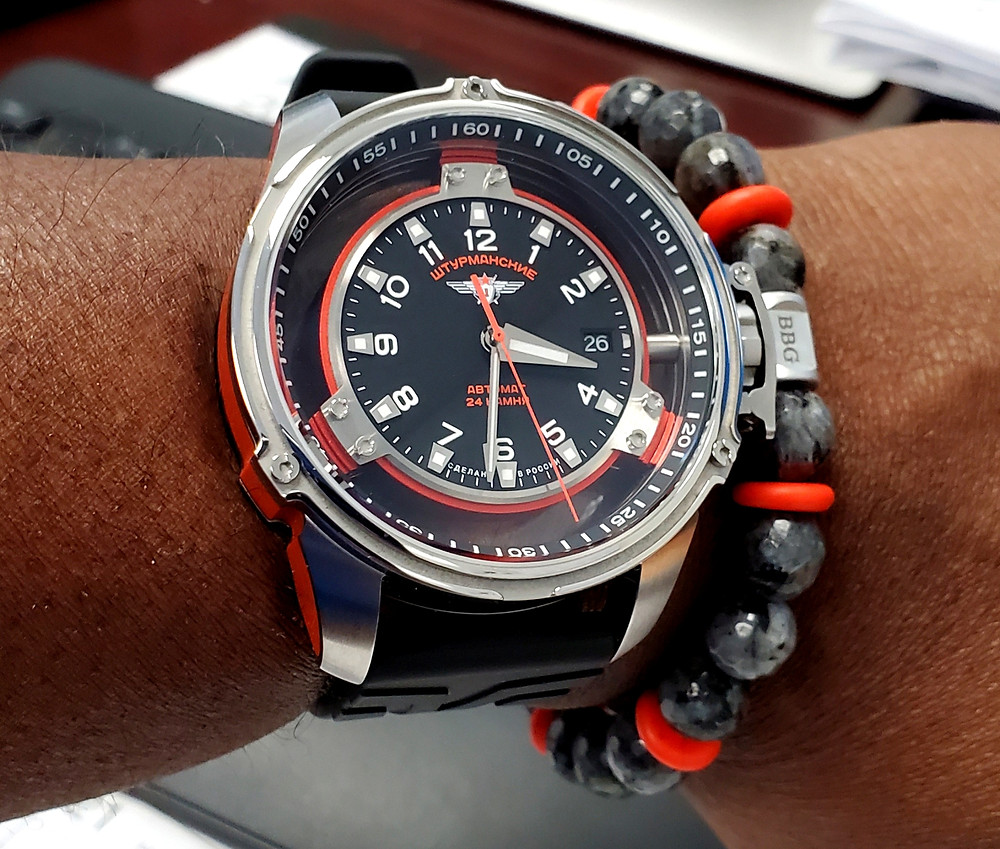 WOTD wrist-shot of the Sturmanski, Mars - Cosmonaut Trainer, Limited Edition.  Paired with a custom-crafted bracelet, designed by Beads By Gonzo.