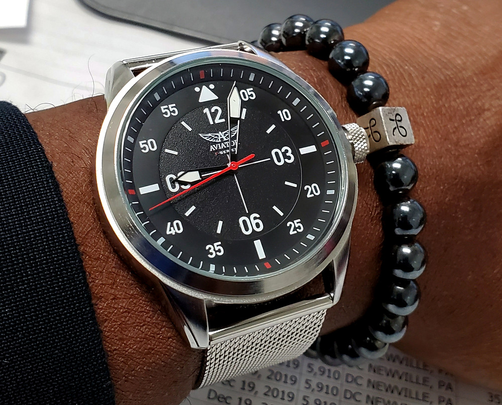 WOTD wrist-shot of the Aviator, F-Series Pilot.  Pairing the F-Series with a minimalist, Hematite stone bracelet, designed by Aurum Brothers.