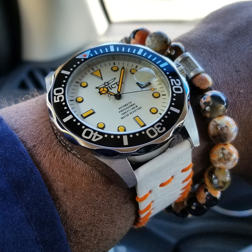 "WOTD wrist-shot of the Invicta, ""Creamsicle"" Grand Diver.  Paired with a custom bracelet, designed by Beads By Gonzo.I"