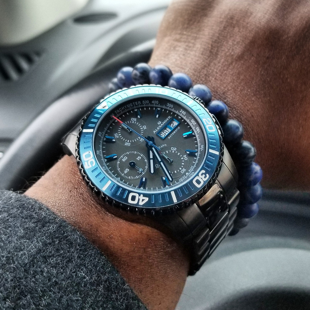 Wrist-shot of the Alexander Olyn, A420 Vanquish, Valjoux 7750 Chronograph