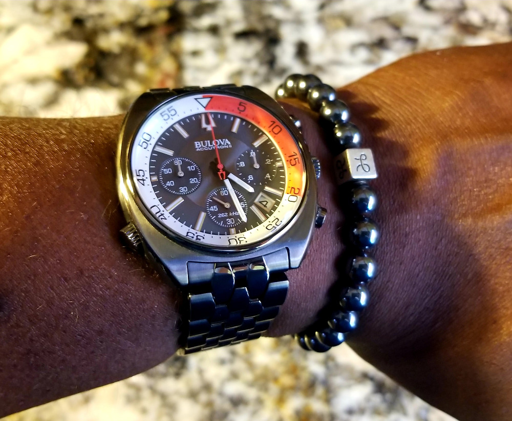 WOTD Wrist Shot showing Bulova, Accutron II, Snorkel accompanied by Aurum Brothers, Hematite, beaded bracelet.