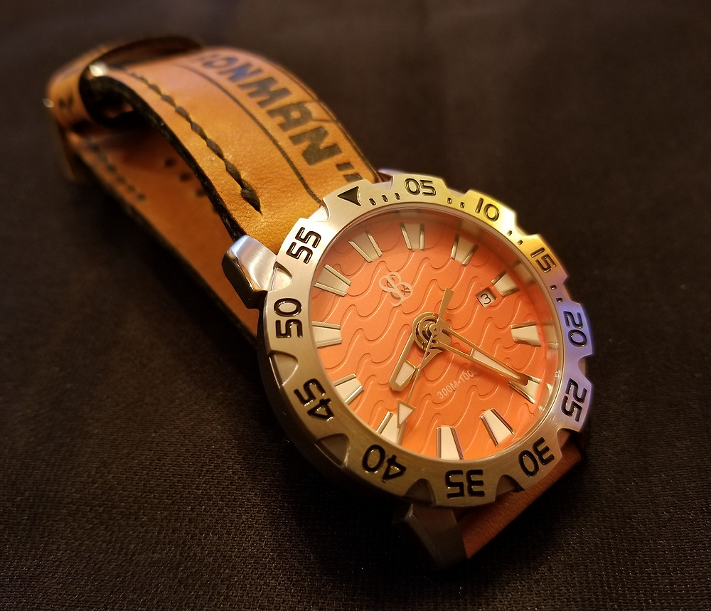 Smith and Bradley Wraith Diver, on custom-made, Cal Ripken, Jr., baseball glove leather strap.