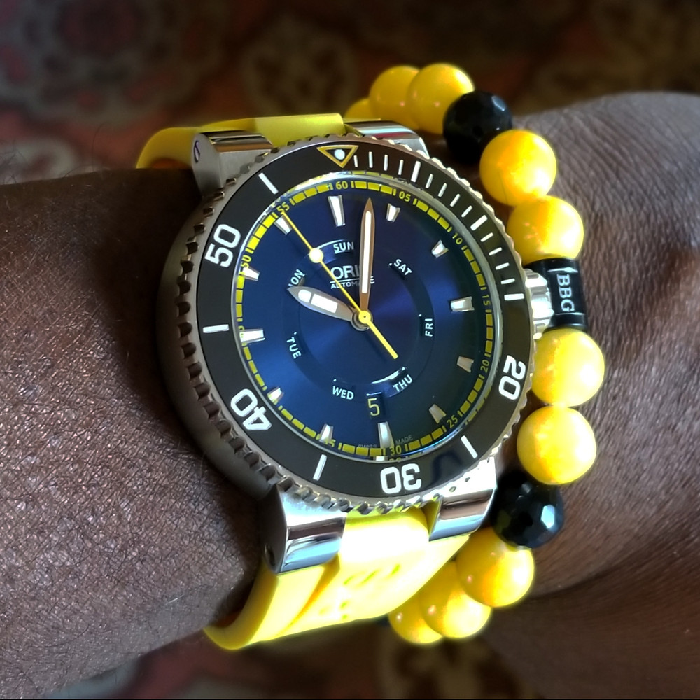 WOTD wrist-shot of the Oris, Aquis, Great Barrier Reef, Limited Edition II.  Paired with custom-designed bracelet, created by Beads By Gonzo.